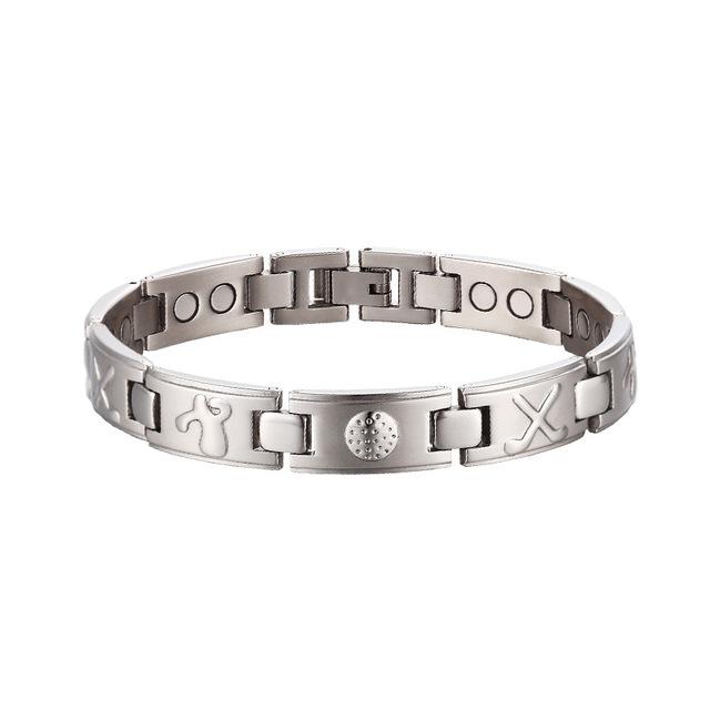OKtrendy Power magnetic 3000 Gauss Stainless Steel Germanium Wristband Bracelet Balance Energy For Golf Men Hand Arthritis