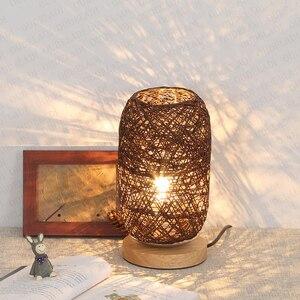 Image 3 - الخشب الروطان خيوط كرات إضاءة الجدول مصباح غرفة ديكور فني المنزل مكتب الخفيفة