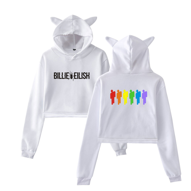 BILLIE EILISH CROP TOP EAR HOODIE (5 VARIAN)