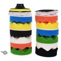 Polidores e amortecedores de polimento almofada de polimento do carro automático conjunto cera pacote 15 peças + m10 broca kit adaptador