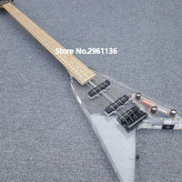 2019 High quality China electric Bass guitar, 4 string Acrylic Bass with LED lights, free shipping
