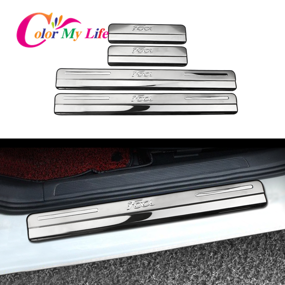 Stainless Steel Car Door Sill Scuff Plate Cover Fit For Ford Focus 2 3 4 MK2 MK3 MK4 2005 - 2018 4Pcs/Set Accessories