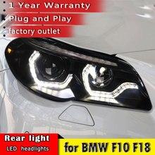 تصفيف السيارة لسيارات BMW F10 F18 2011 2013 LED المصباح ل F10 F18 رئيس مصباح الديناميكي DRL بدوره إشارة led المصباح