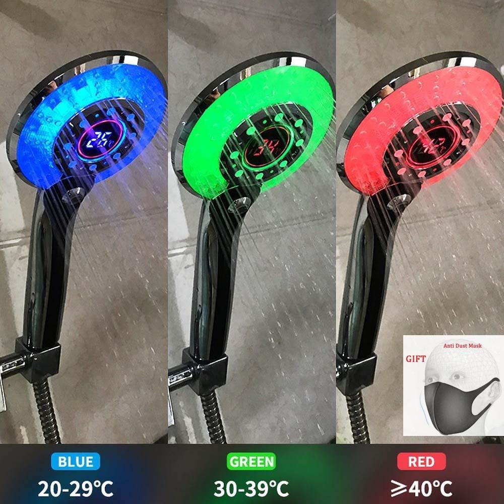 LED Shower Head Digital Temperature Control Shower Sprayer Spraying Mode Water Saving Shower Filter Chuveiro