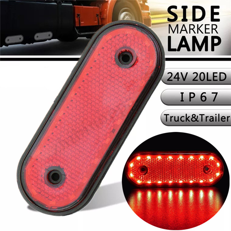 24V LED Trunk Light 20 LED Marker Lights Trailer Truck RV Boat Van Brake Stop Indicator Light Red Side Marker Light