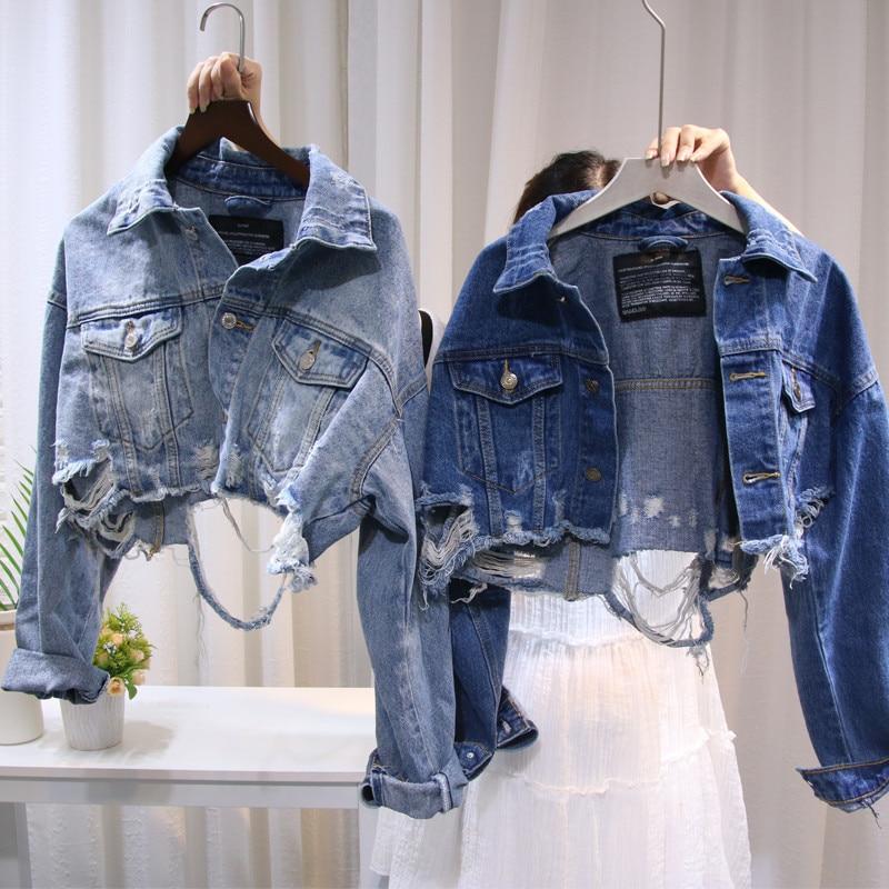Women Fashion Streetwear Jackets 2019 Autumn Blue Ripped Holes Denim Jacket Vintage Short Coats Jeans Harajuku Frayed Jackets