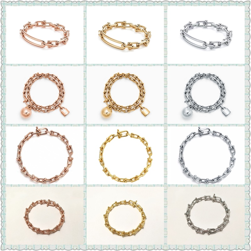 100% S925 Sterling Silver U-Shaped Lock Trendy Bracelet Women Logo Fine European And American Style Original Jewelry