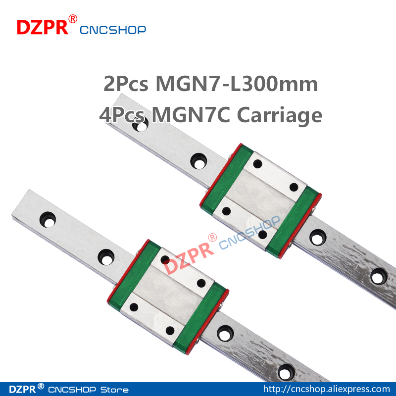 MGN7 300mm 2Pcs 11.81 in Miniature Linear Rail 4Pcs MGN7C Carriage Block for 3D Printer CNC Machine CNC Parts