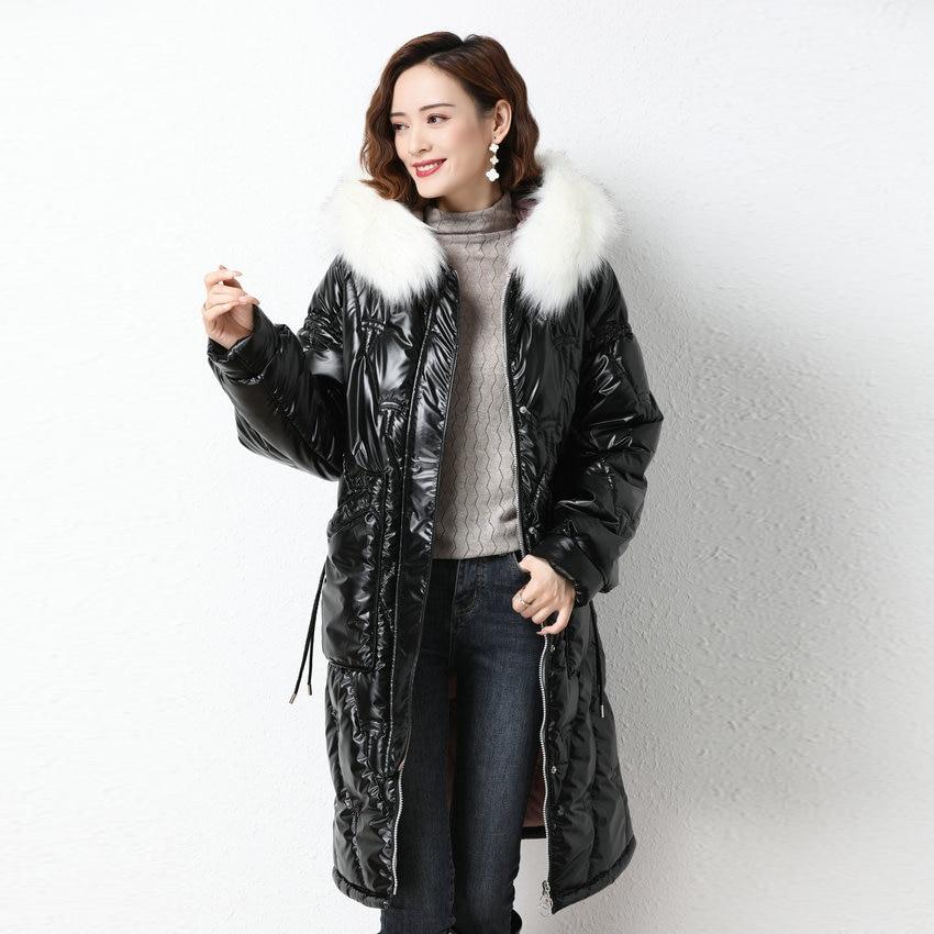 Модная зимняя белая меховая парка с капюшоном женское длинное