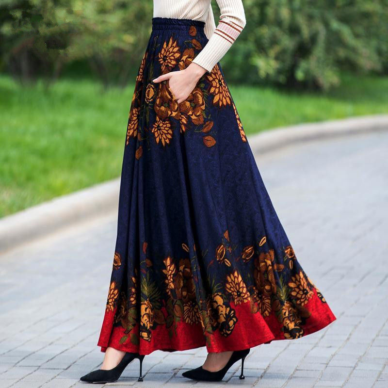 Elegant Floral Print High Waist Maxi Skirt Women Flower Vintage Long Pleated Skirts High Quality Female Plus Size Skirts Clothes