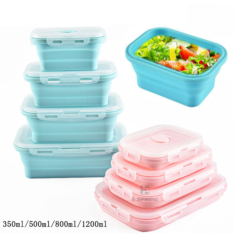 Silicone Collapsible Microwave Bento Lunch Box Portable Healthy Material Lunch Box Food Storage Container Foodbox 1Pc/3Pc