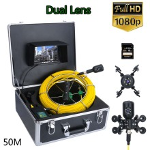 Gamwater 50M 7inch DVR 1080P HD Dual Lens Camera Drain Sewer Pipeline Industrial Endoscope Pipe Inspection Video Camera