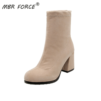 MBR FORCE Classics Ankle Women Boots Suede Soft Shoes Anti-Skid Woman Boots Pointed Toe Square High Heels Ladies Footwear black цена 2017