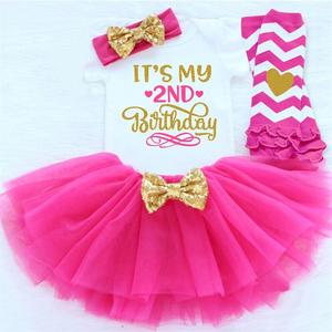 Sweet Pink 2 Years Baby Girl Summer Clothes Infant 2nd Birthday Unicorn Party Dress Outfits Sets For Girl Kids Baby Clothing Set(China)