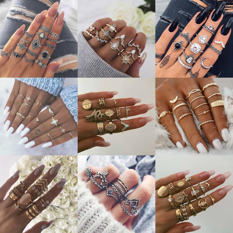 30 стилей, Трендовое кольцо миди в стиле бохо, набор для женщин, Кристальные геометрические кольца на палец, модные богемные ювелирные издели...
