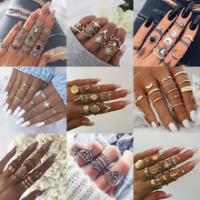 30 Styles Trendy Boho Midi Knuckle Ring Set For Women Crystal Geometric Finger Rings