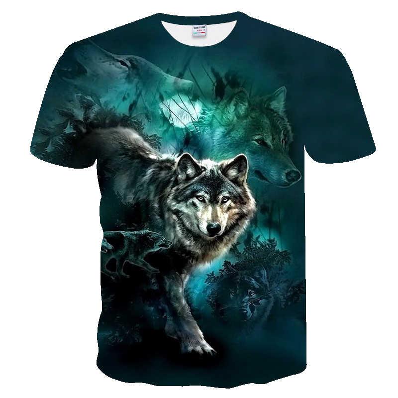 2019 メンズ新夏パーソナライズ Tシャツウルフプリント Tシャツ男性 3D Tシャツノベルティ動物トップス Tシャツ男性ショートスリーブ Tシャツ