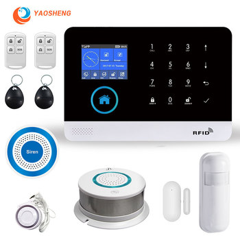WIFI GPRS GSM Alarm safety system smartlife Remote App control with smoke detector siren wireless smart home security Alarm kit