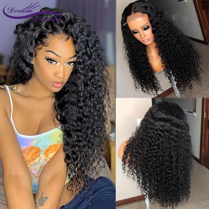 Encaracolado 13x6 frente do laço perucas de cabelo humano com o cabelo do bebê brasileiro remy cabelo encaracolado perucas para as mulheres pré-arrancado peruca sonho beleza