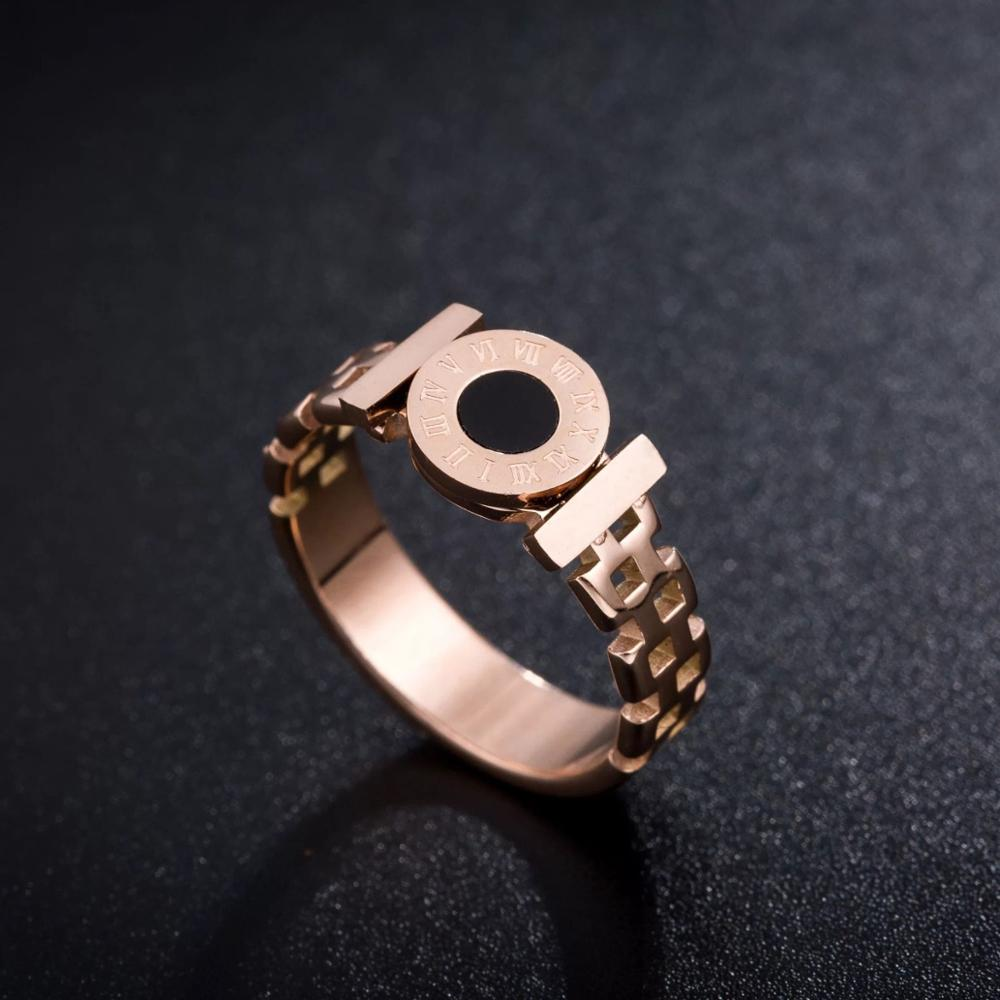 KNOCK Hot  Woman Rings Stainless Steel Black Roman Numerals  Rose Gold Color Hollow Out Rings Fashion Jewelry 2
