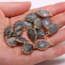 Натуральный камень в форме капли воды лабрадорит кулон Соединитель