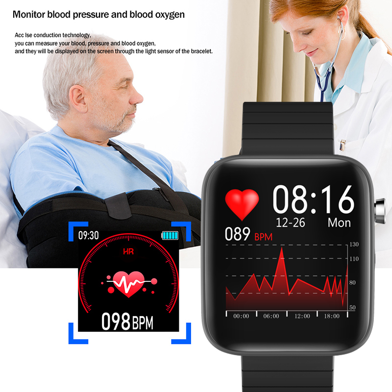 2020 NEW T68 smart watch body temperature detection ECG PPG waterproof camera weather Bluetooth sports pedometer smartwatch