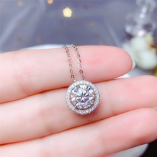 Necklace Moissanite Pendant Fine-Jewelry Gift Real-925-Silver Women VVS Round 1CT 2CT