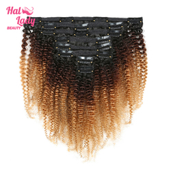 Halo Lady 8Pcs Set Thick Afro Kinky Curly Clip in Double Weft Hairpiece Hair Extensions 1b/4/27 1b/99j Ombre Brazilian Remy Hair