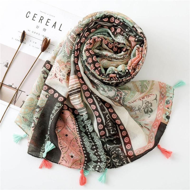 KYQIAO 2020 Women Hijab Scarf Female Autumn Winter Long Japanese Style Fresh Art Style Print Scarf Muffler Cape Shawl
