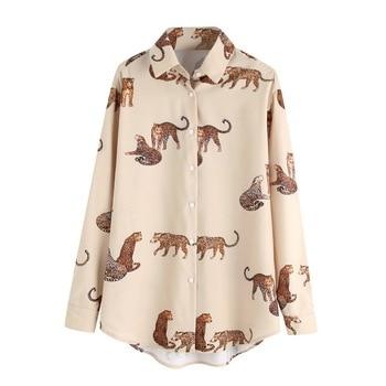 Animal Prints Shirt Women Autumn 2019 New Fashion Long Sleeve Blouse Female Loose Shirts 1
