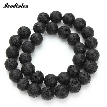 Beadtales Round Ball Black Natural Stone Lava Bead Volcanic Rock Loose Beads 4mm 6mm 8mm 10mm 12mm DIY Bracelet Jewelry Making image