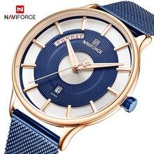 NAVIFORCE męskie zegarki Top marka luksusowa moda męska zegarek kwarcowy siatka stalowa pasek zegarek sportowy mężczyzna Relogio Masculino 2019