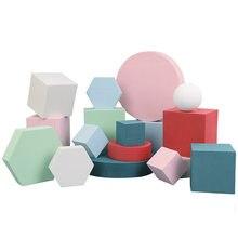 Cor sólida fotografia foto fundo adereços espuma geométrica cubo tiro de mesa para fotografia posando ornamentos backdrops