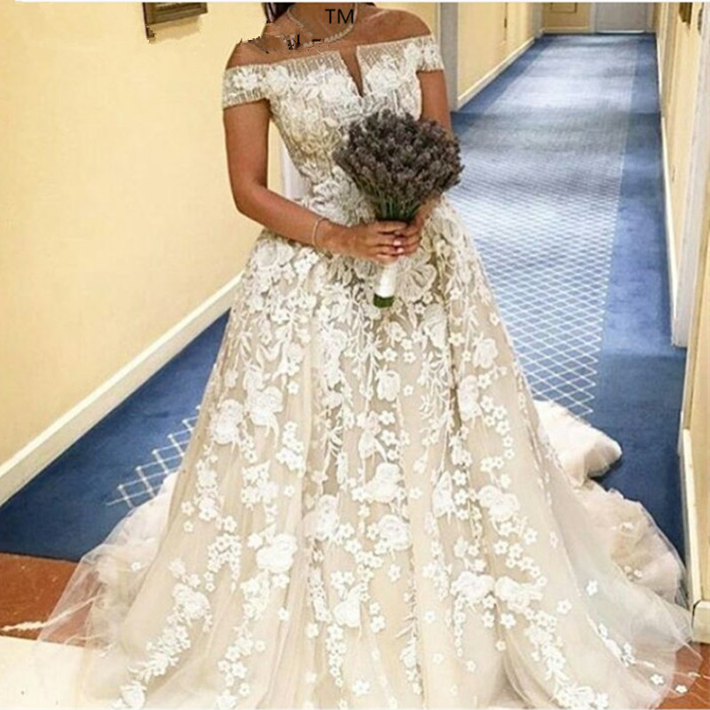 Vestido De Noiva Applique Lace Ball 2018 Vintage Vestido De Noiva Boat Neck Arabic Bridal Gown Mother Of The Bride Dresses