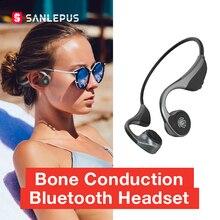 SANLEPUS écouteurs à Conduction osseuse écouteurs sans fil à oreille ouverte Bluetooth 5.0 Qualcomm puce avec micro pour la course sport Fitness