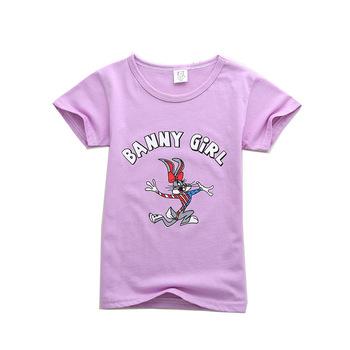 Odzież dla niemowląt maluch królik wzór dla dzieci koszulki dla chłopców ubrania dla niemowląt koszulki z krótkim rękawem dla niemowląt chłopcy t-shirty letnie szczyty tanie i dobre opinie Unini-yun COTTON Moda Cartoon REGULAR O-neck Pasuje prawda na wymiar weź swój normalny rozmiar Dziewczyny 4 77