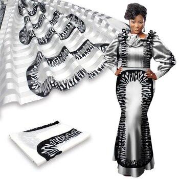 New 2yards chiffon with 4yards silk soft material fabric lady african nigerian wedding dress garment ankara real silk printed
