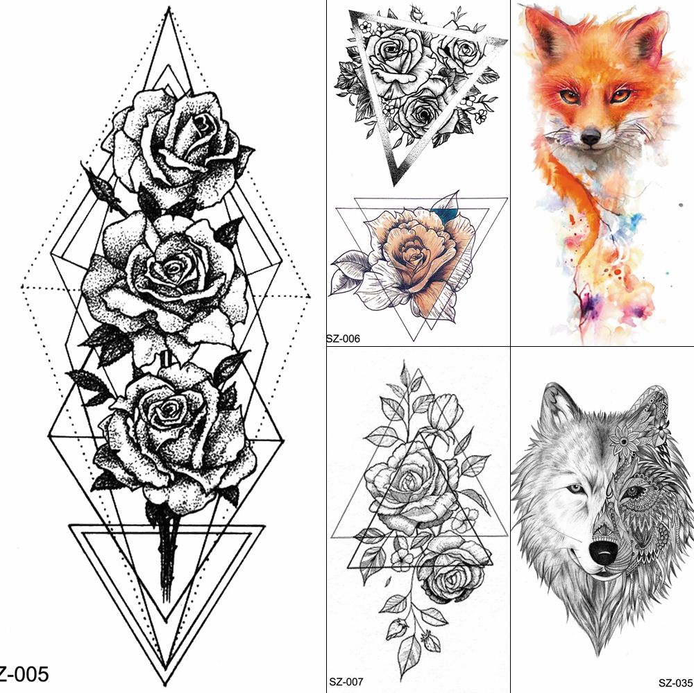 Triangle Flower Temporary Tattoo Stickers Women Blossom Neck Geometric Flora Water Transfer Tatoos Leaf Peony Fake Sexy Tattoo