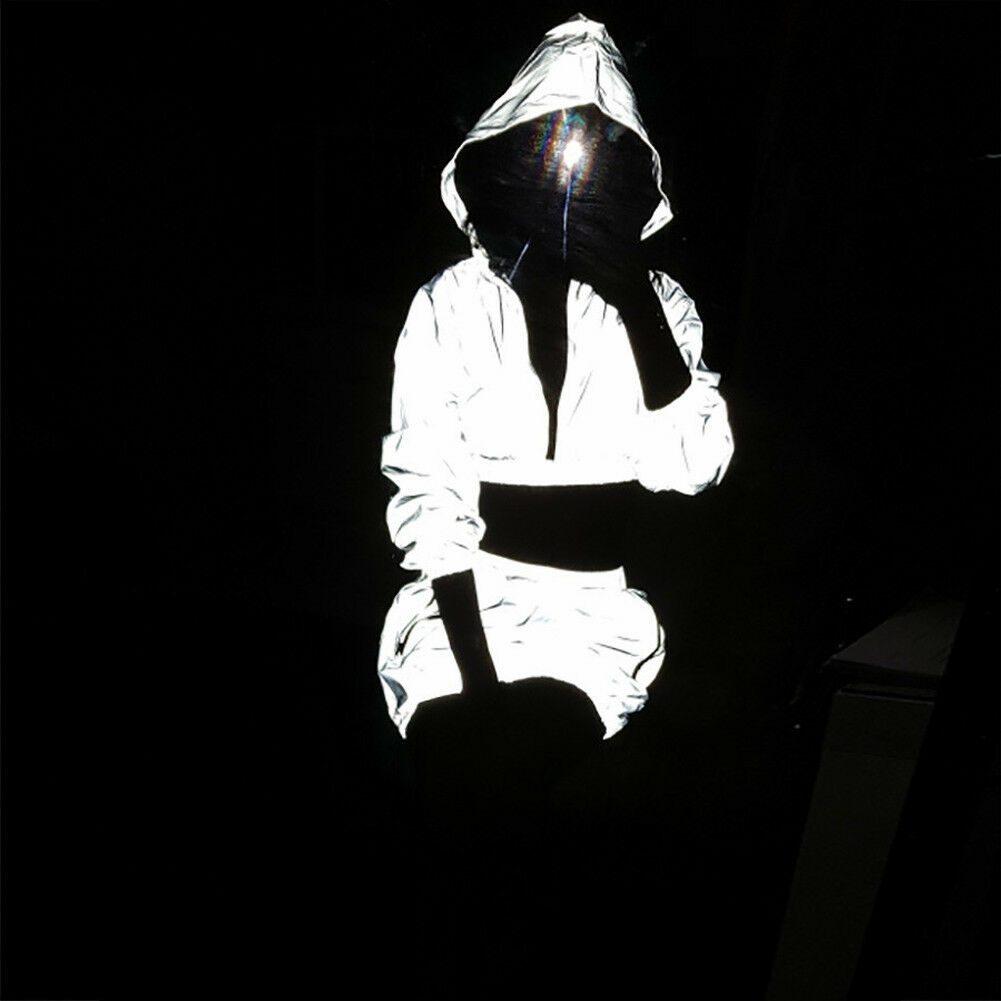 1PC Sexy Hip Hop Women Reflective Hooded Zipper Crop Tops Solid Elastic High Waist Skirt Clubwear Bodycon Tracksuit Outfits