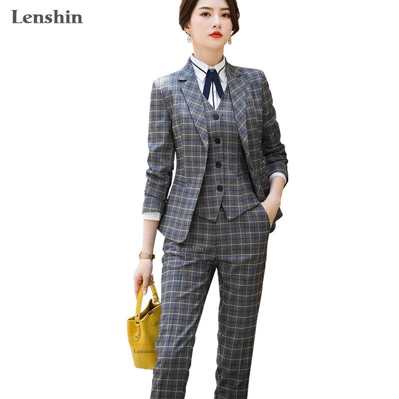 Lenshin High Quality 3 Piece Set Plaid Formal Pant Suit Blazer Office Lady Uniform Designs Women Keep Slim Jacket And Pant