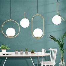 الشمال كرة زجاجية قلادة أضواء الحديثة LED مصباح معلق لغرفة المعيشة النحاس/أسود/الكروم قلادة مصباح