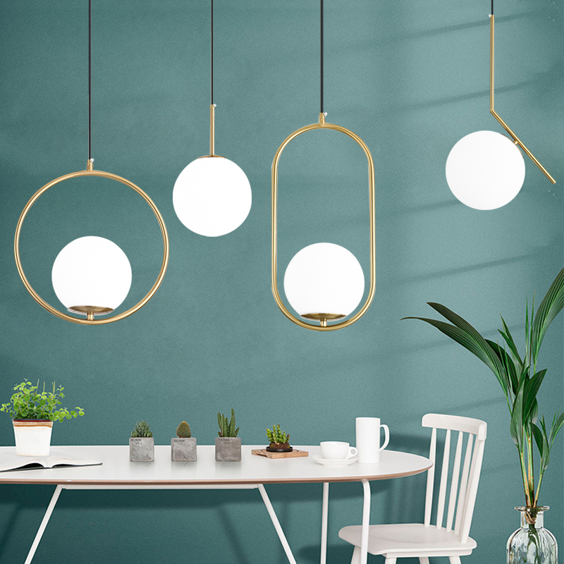 Nordic Glass Ball Pendant Lights Modern LED Hanging Lamp for Living Room Brass Black Chrome Pendant Lamp