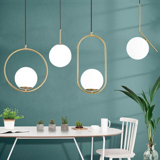 Nordic szklane kulki wisiorek światła nowoczesne lampy wiszące LED do salonu mosiądz/czarny/chrom lampa wisząca
