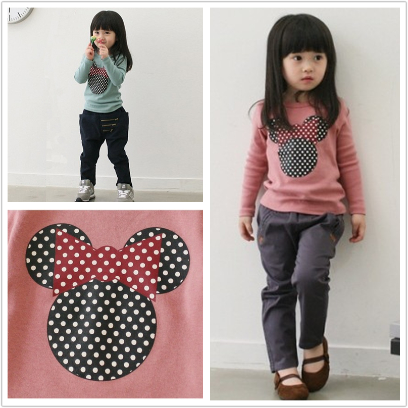 Baby Girl Minnie Print T-shirt For Girls  Minnie Print Long Sleeve Clothes Kids Cartoon Cotton T-shirt Long Sleeve ClothIng