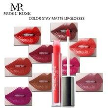 MUSIC ROSE 24 Colors Women Matte Lip Gloss Girl Korean Makeup Glitter Lipgloss Tube Lipquid Lipstick Comestic Gift