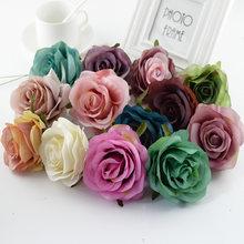 2/10 pçs retro rosa cabeça casamento noiva flores decorativas parede diy um boné acessórios de decoração para casa flores artificiais atacado
