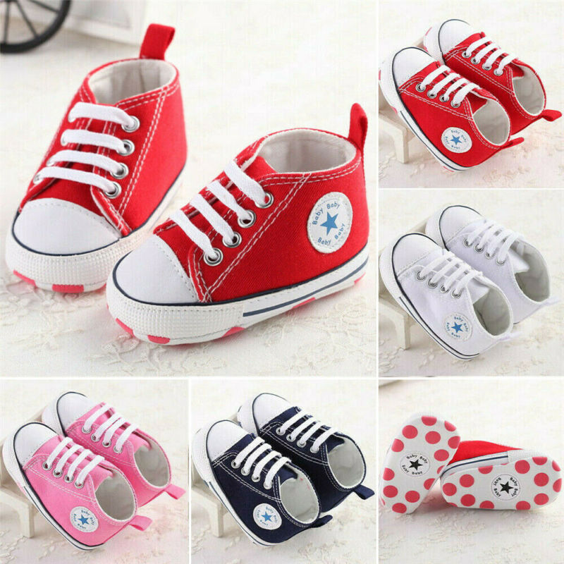 New Baby Toddler Boys Girls High Classic Canvas Tennis Shoes Kid Skater Sneakers Anti-slip Soft Sole Crib Casual Canvas Shoes
