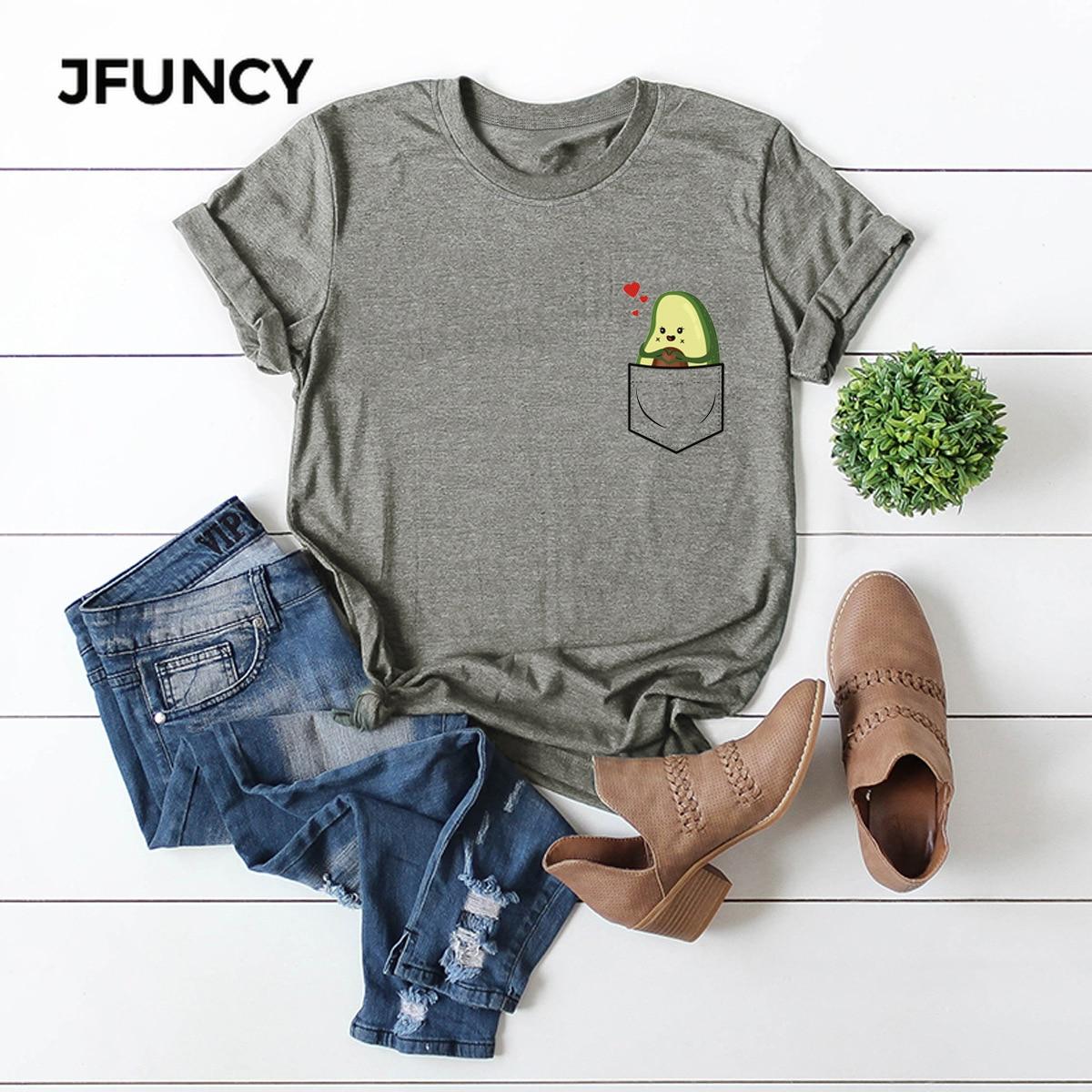 JFUNCY Fun Cartoon Pocket Print Loose T Shirt Oversize Women Tees Tops Summer Cotton T-Shirt Woman Shirts Fashion Casual Tshirt
