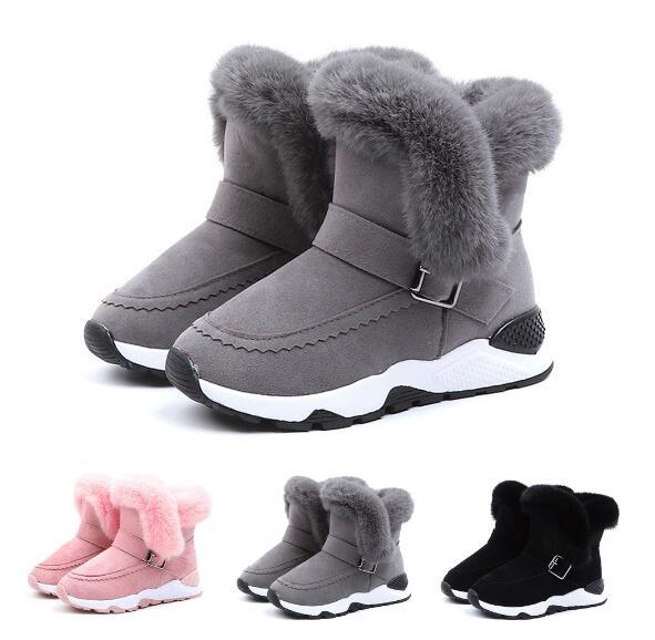 Children Boots Shoes 2020 New Winter Plush Warm Martin Boys Shoes Fashion Leather Soft Fleece Antislip Girls Boots