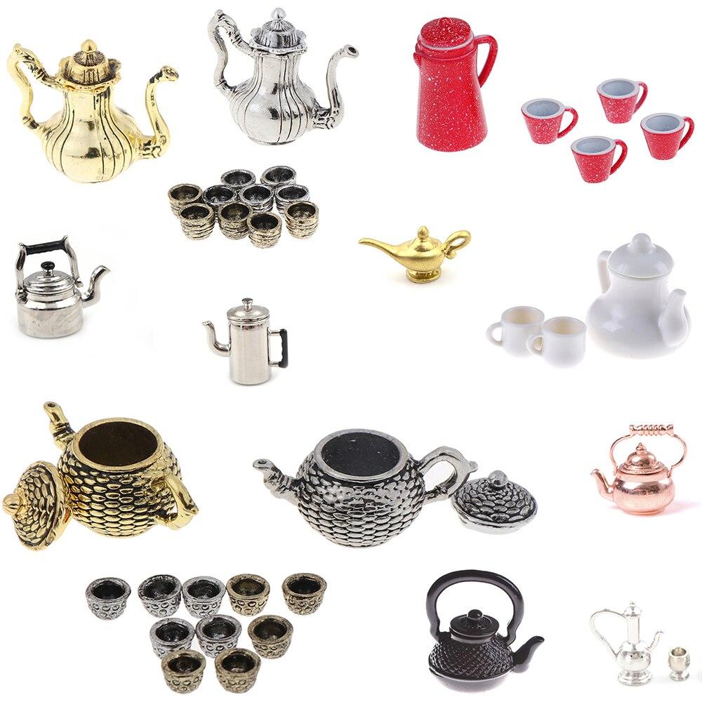 Dollhouse Miniature Accessory Mini Metal Teapot Teakettle Pitcher 1:12